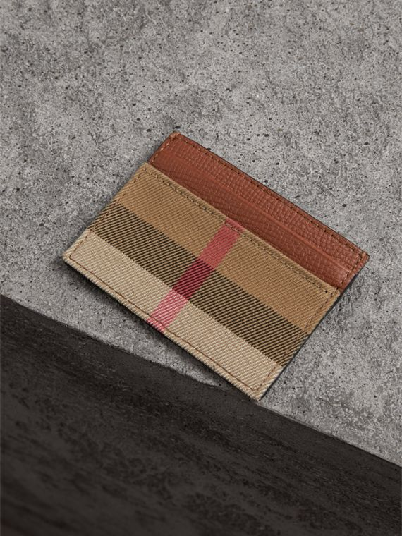House Check and Grainy Leather Card Case in Chestnut Brown | Burberry - cell image 2