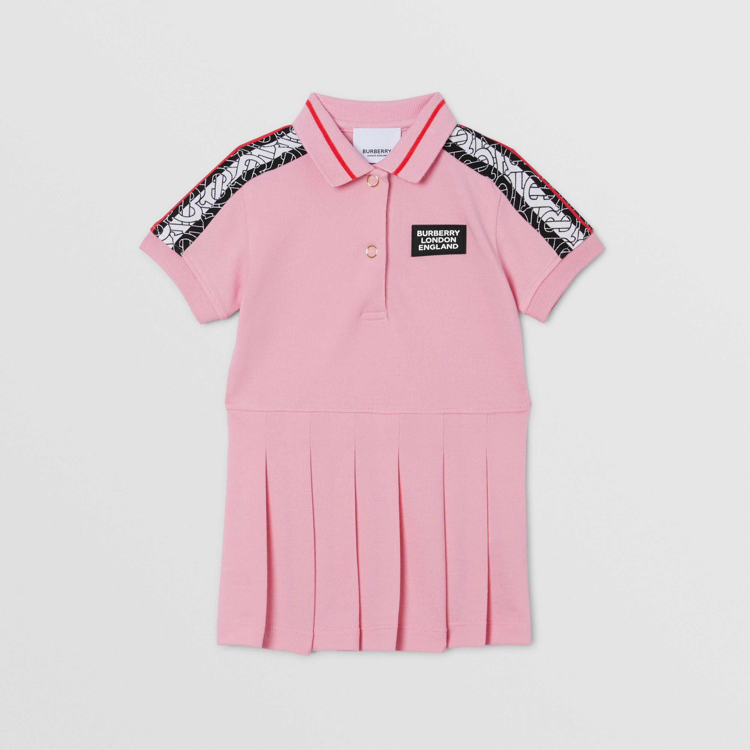 Monogram Stripe Print Cotton Piqué Polo Shirt Dress in Candy Pink - Children | Burberry - 1