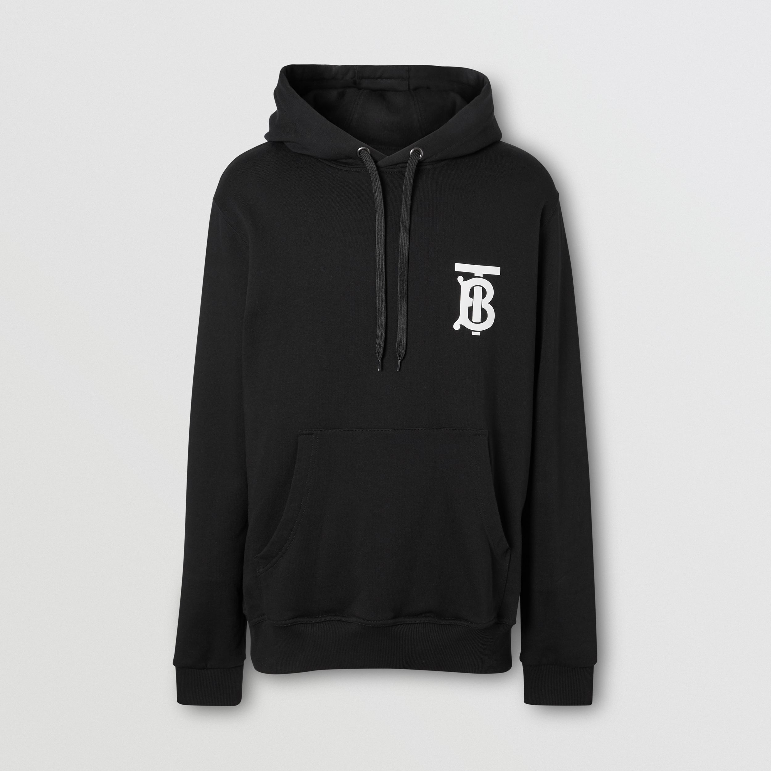 Monogram Motif Cotton Hoodie in Black - Men | Burberry - 4