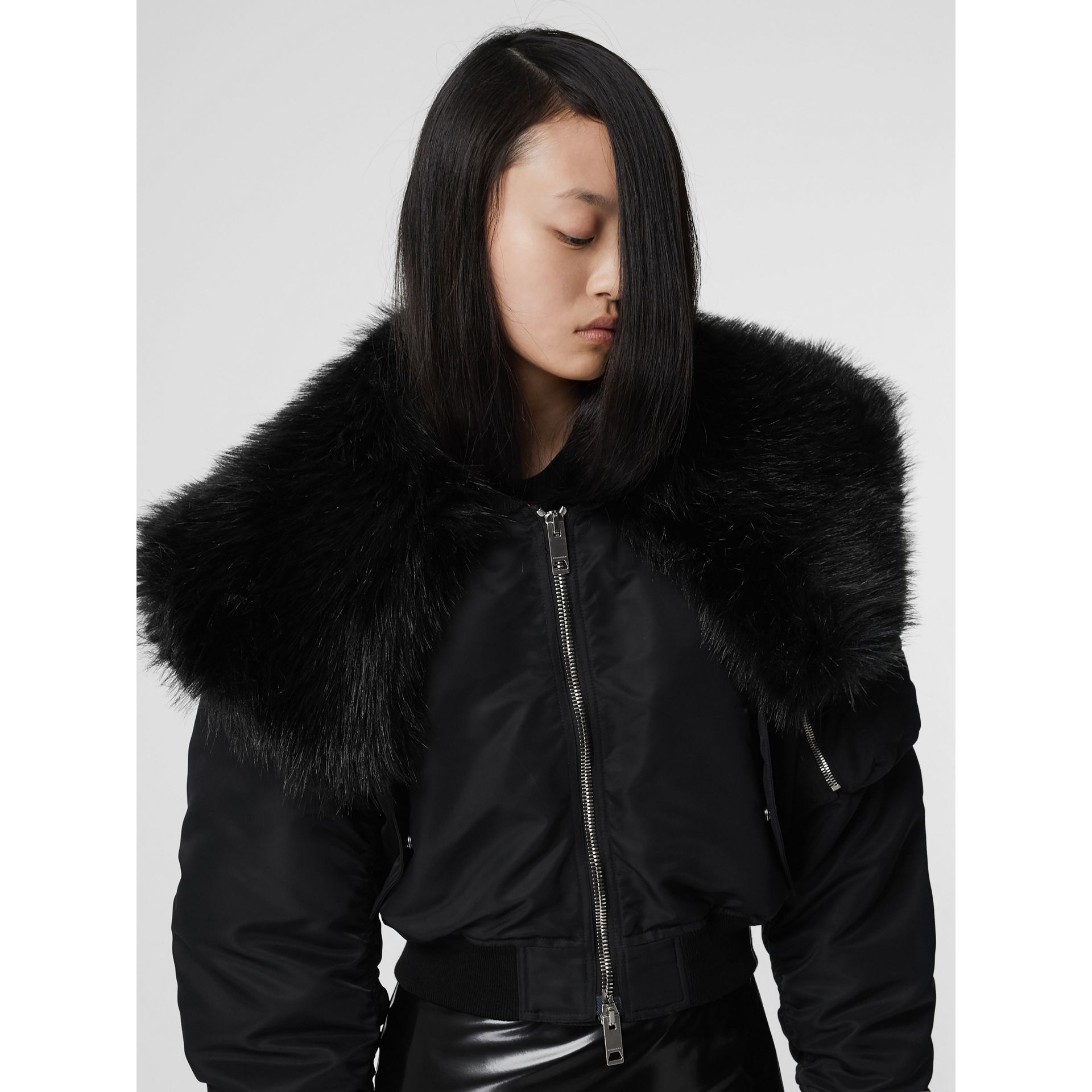 Faux Fur Collar Nylon Bomber Jacket in Black - Women | Burberry - gallery image 2