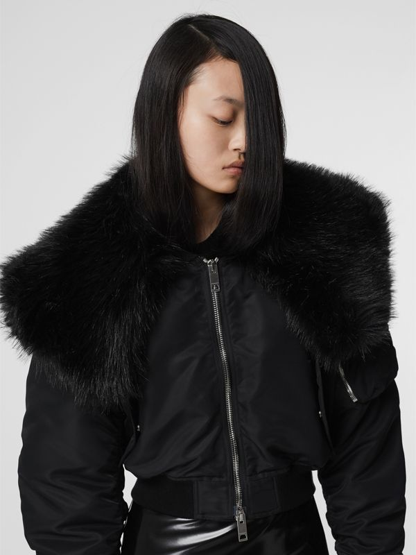 Faux Fur Collar Nylon Bomber Jacket in Black - Women | Burberry - cell image 2