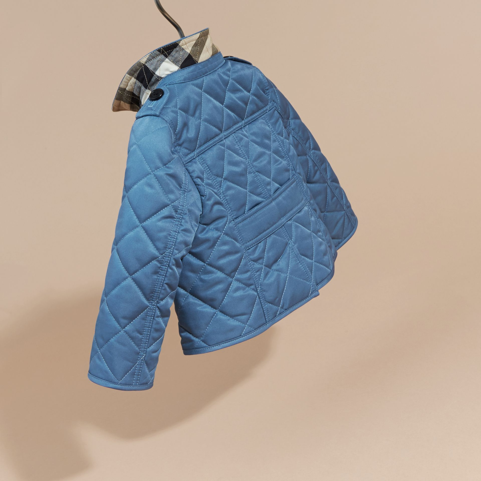 Pale pewter blue Check Detail Quilted Jacket - gallery image 4