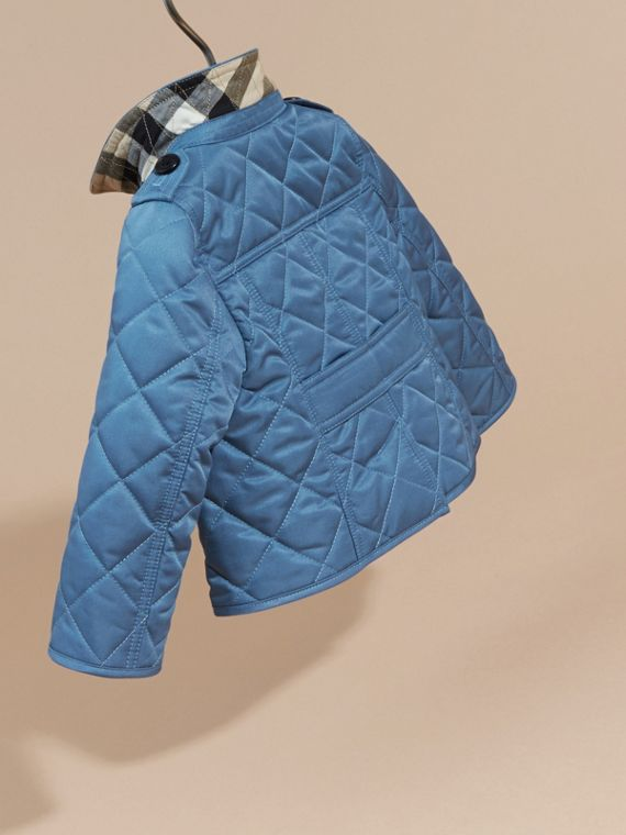 Pale pewter blue Check Detail Quilted Jacket - cell image 3