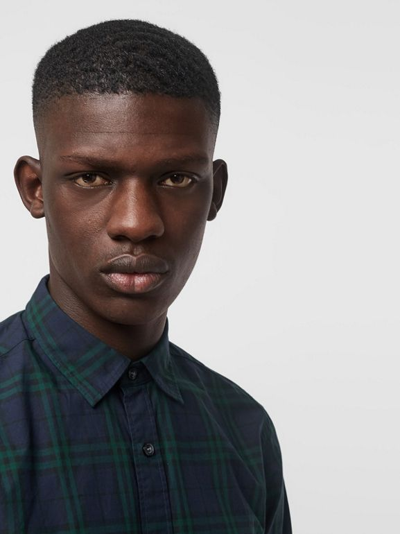 Check Cotton Shirt in Ink Blue - Men | Burberry United Kingdom - cell image 1