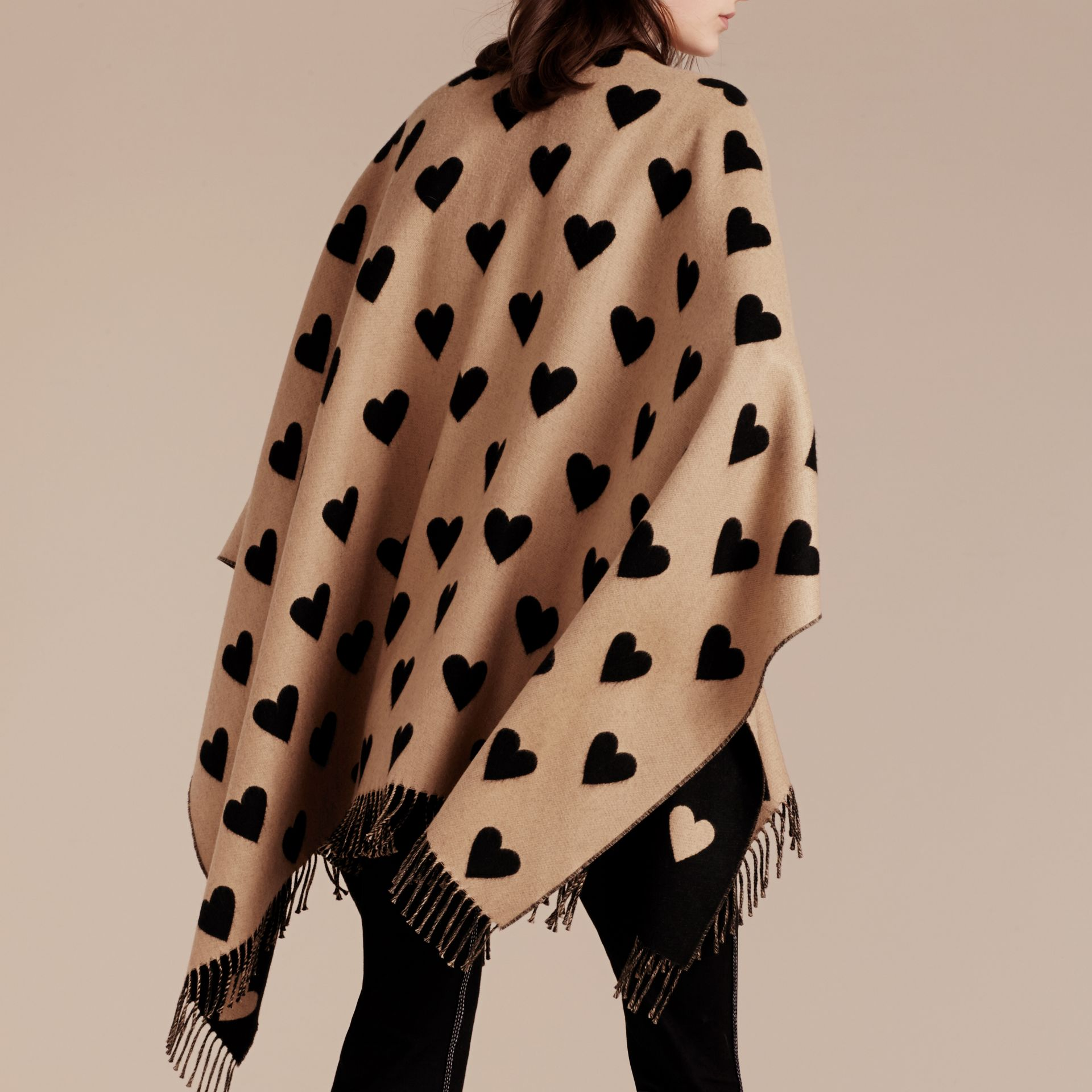 Heart Jacquard Merino Wool Poncho in Camel/black - gallery image 5