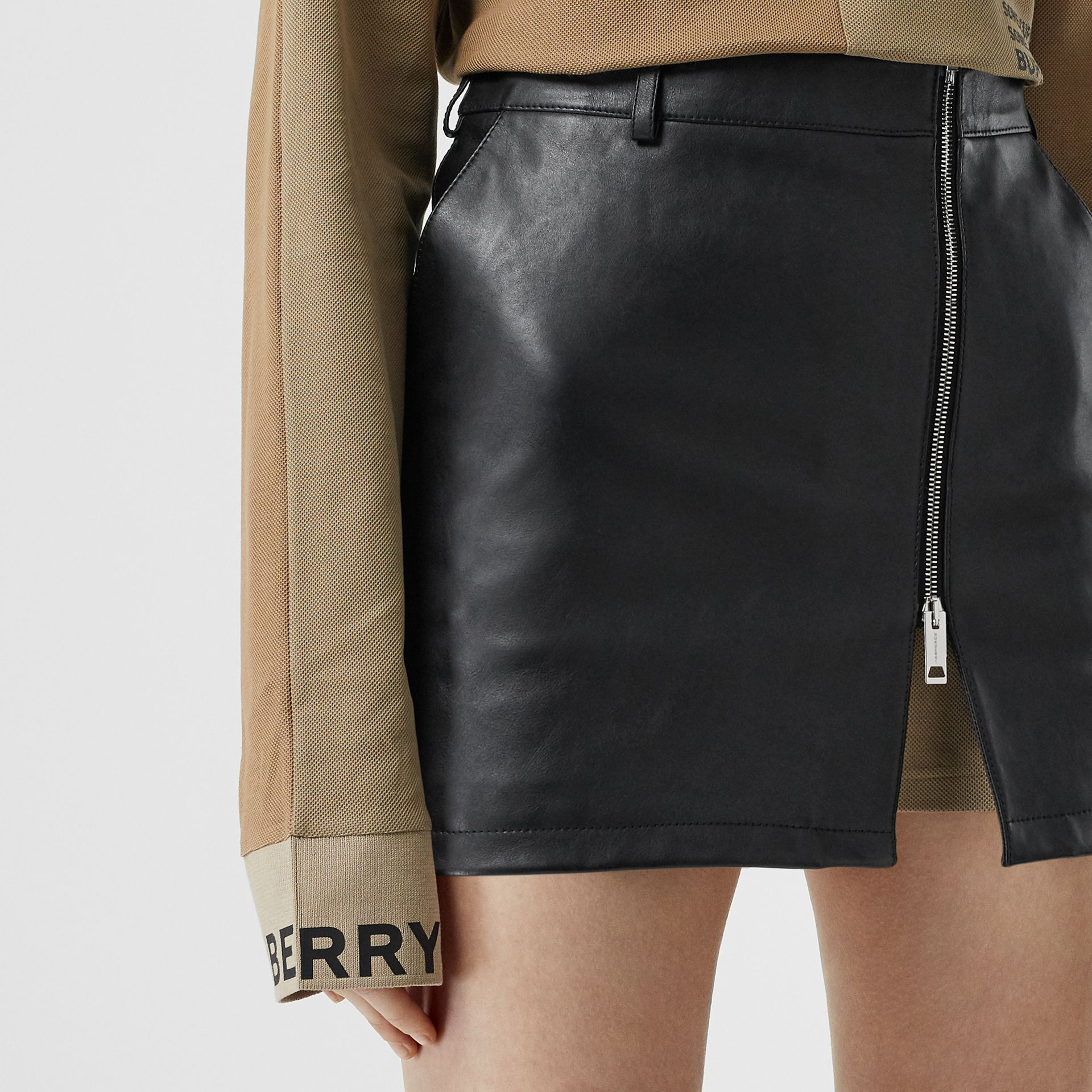 Zip-front Leather Mini Skirt in Black - Women | Burberry - gallery image 1