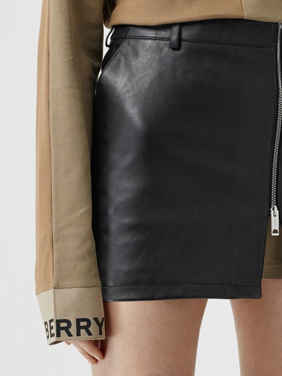Zip-front Leather Mini Skirt in Black - Women | Burberry Hong Kong - cell image 1
