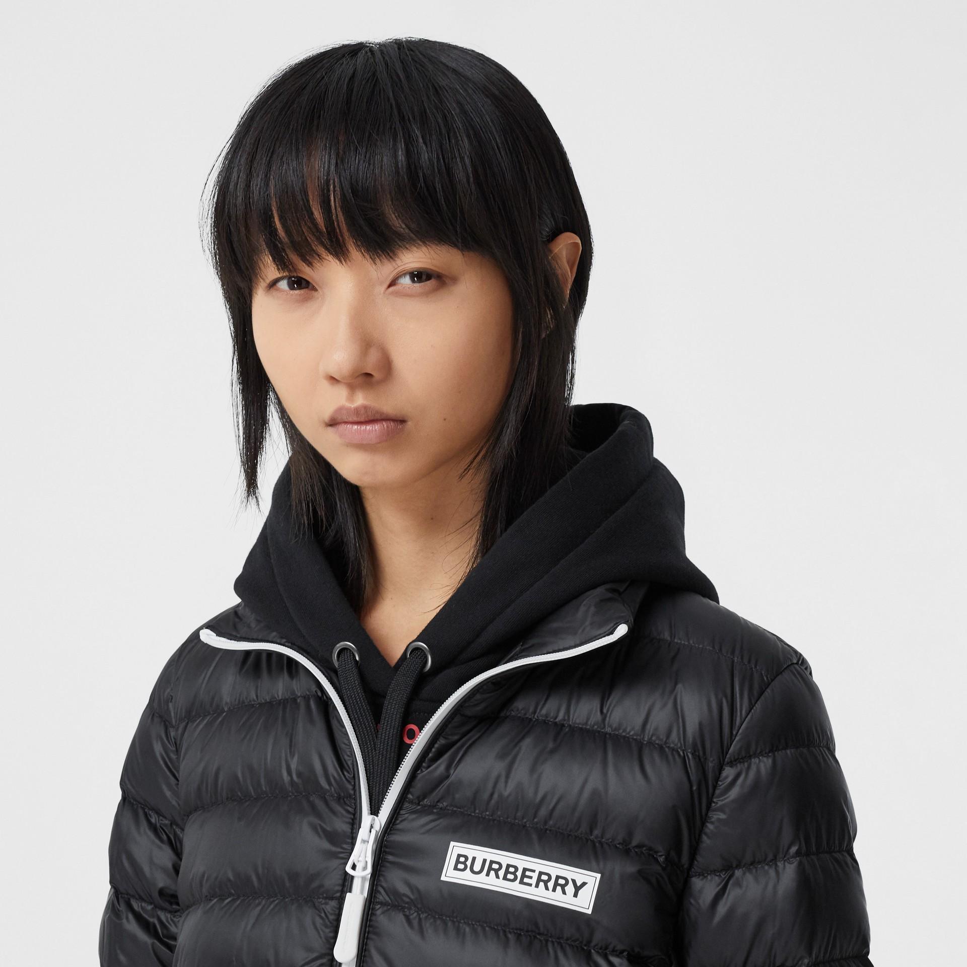 Logo Print Lightweight Puffer Jacket in Black - Women | Burberry Hong Kong S.A.R - gallery image 1