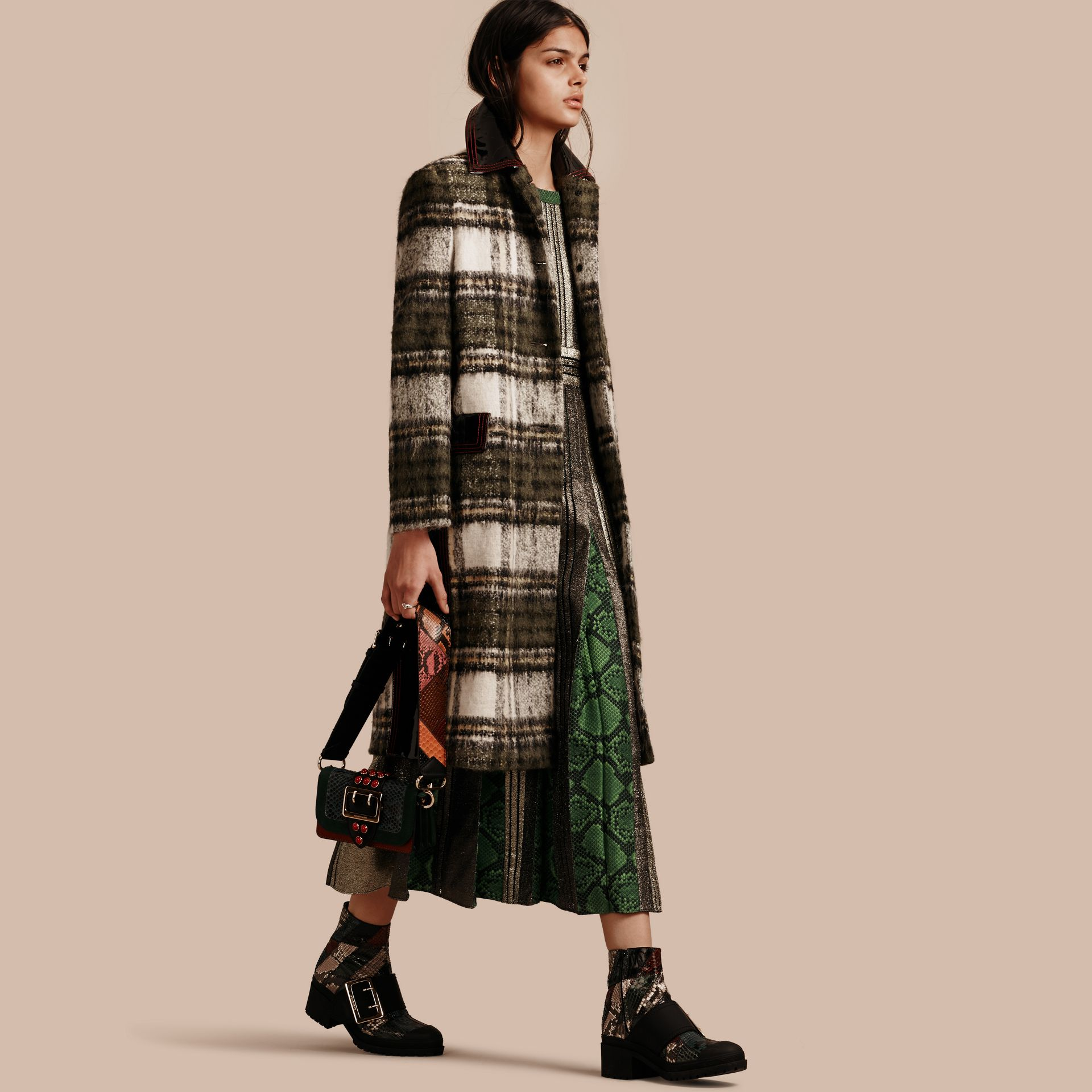 Forest green Brushed Tartan Wool Mohair Coat - gallery image 1