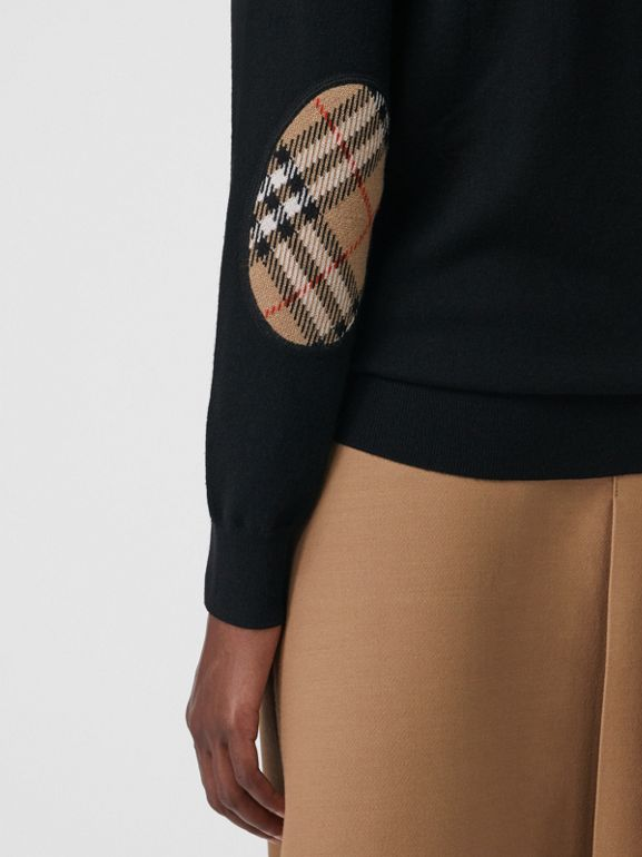 Vintage Check Detail Merino Wool Sweater in Black - Women | Burberry - cell image 1