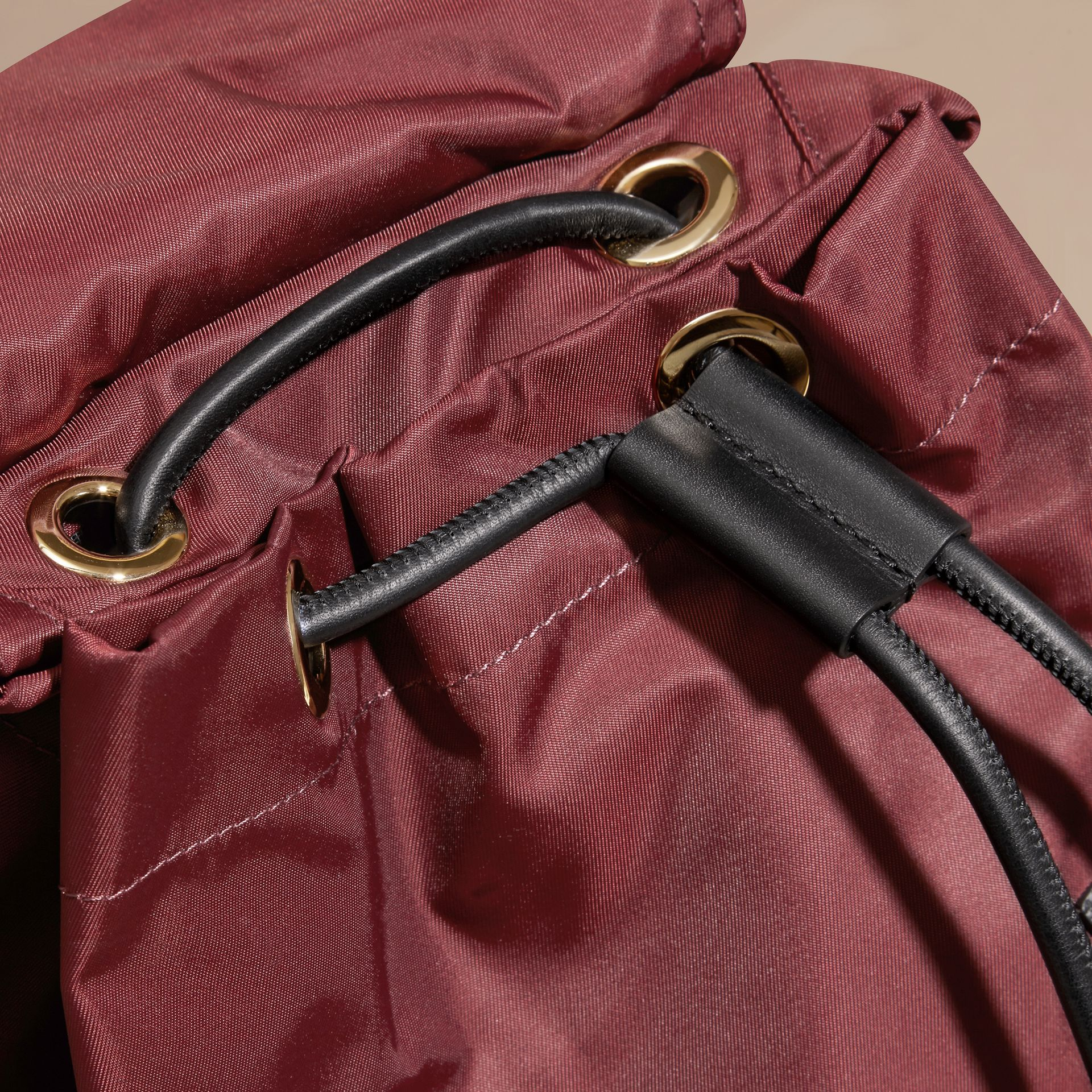 The Medium Rucksack in Technical Nylon and Leather Burgundy Red - gallery image 6