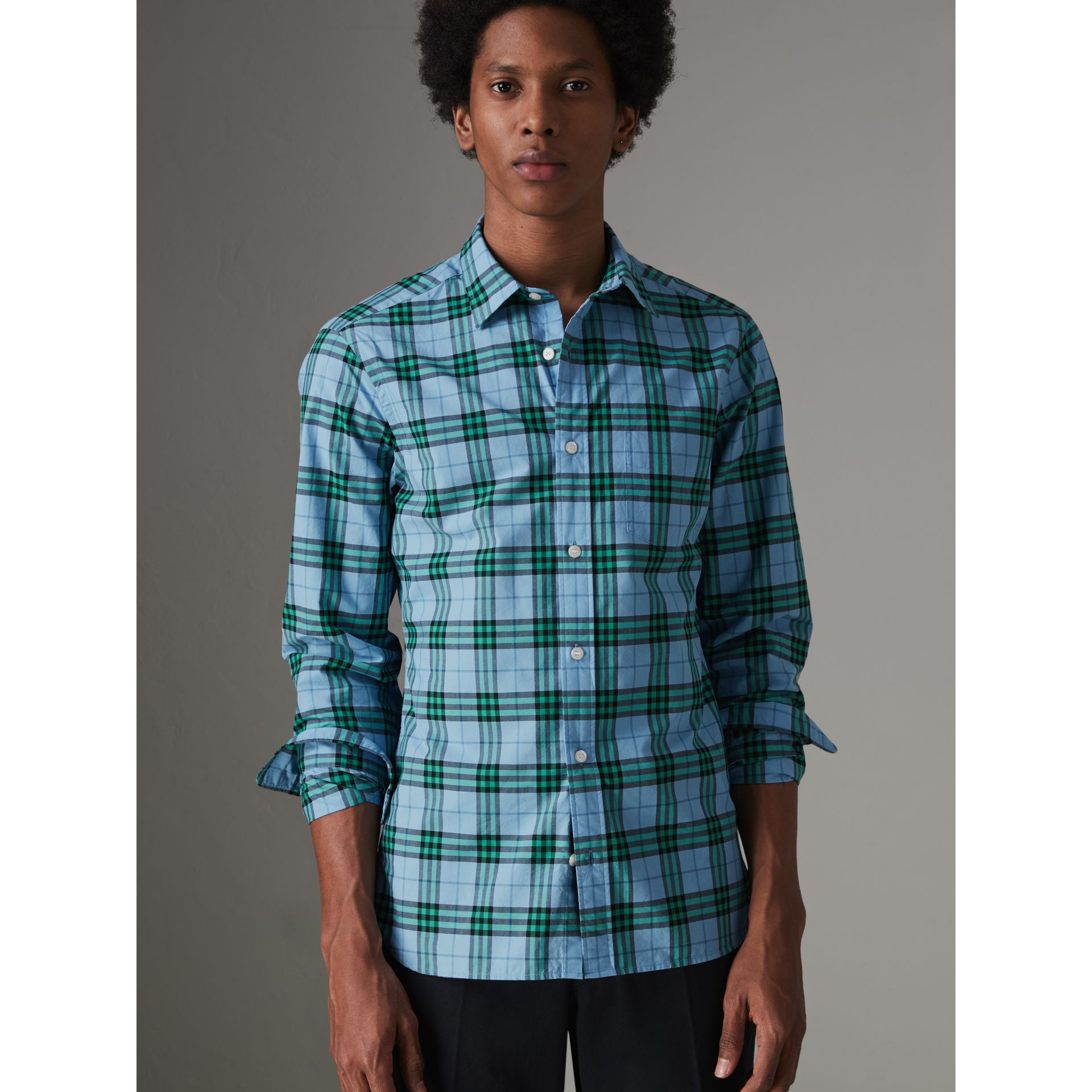 Check Cotton Shirt in Blue Topaz - Men | Burberry Australia - gallery image 1