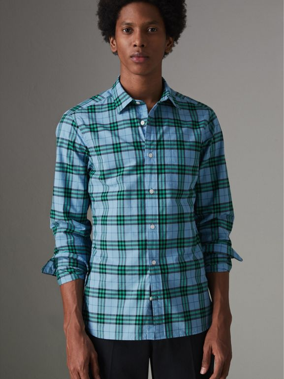 Check Cotton Shirt in Blue Topaz - Men | Burberry Australia - cell image 1