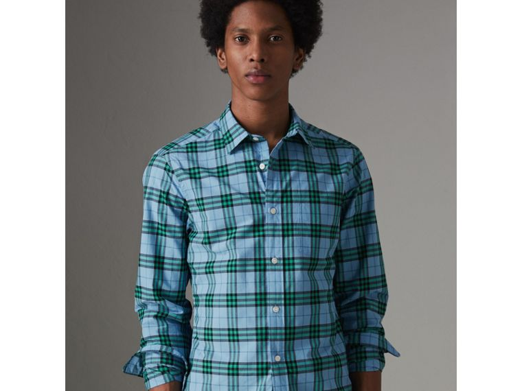 Check Cotton Shirt in Blue Topaz - Men | Burberry United States - cell image 1