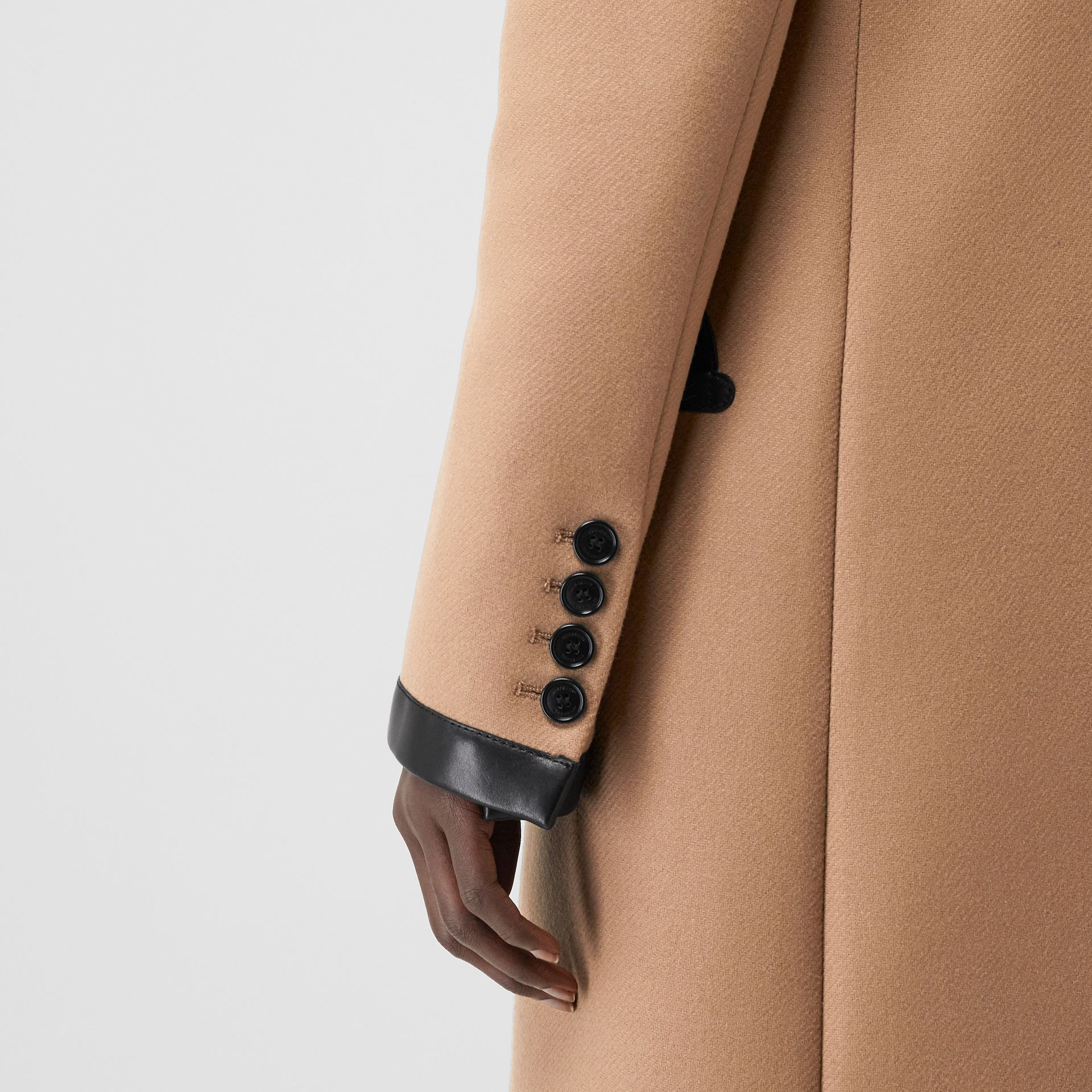 Lambskin Trim Wool Cashmere Blend Tailored Coat in Camel - Women | Burberry United Kingdom - gallery image 5