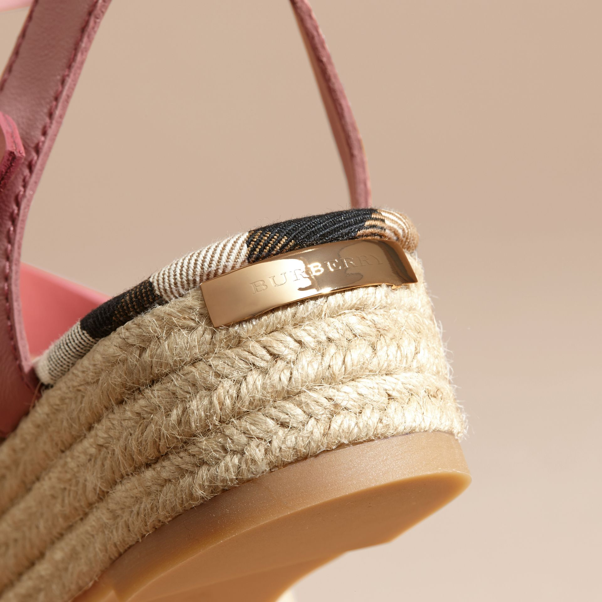 Two-tone Leather Espadrille Sandals - gallery image 6