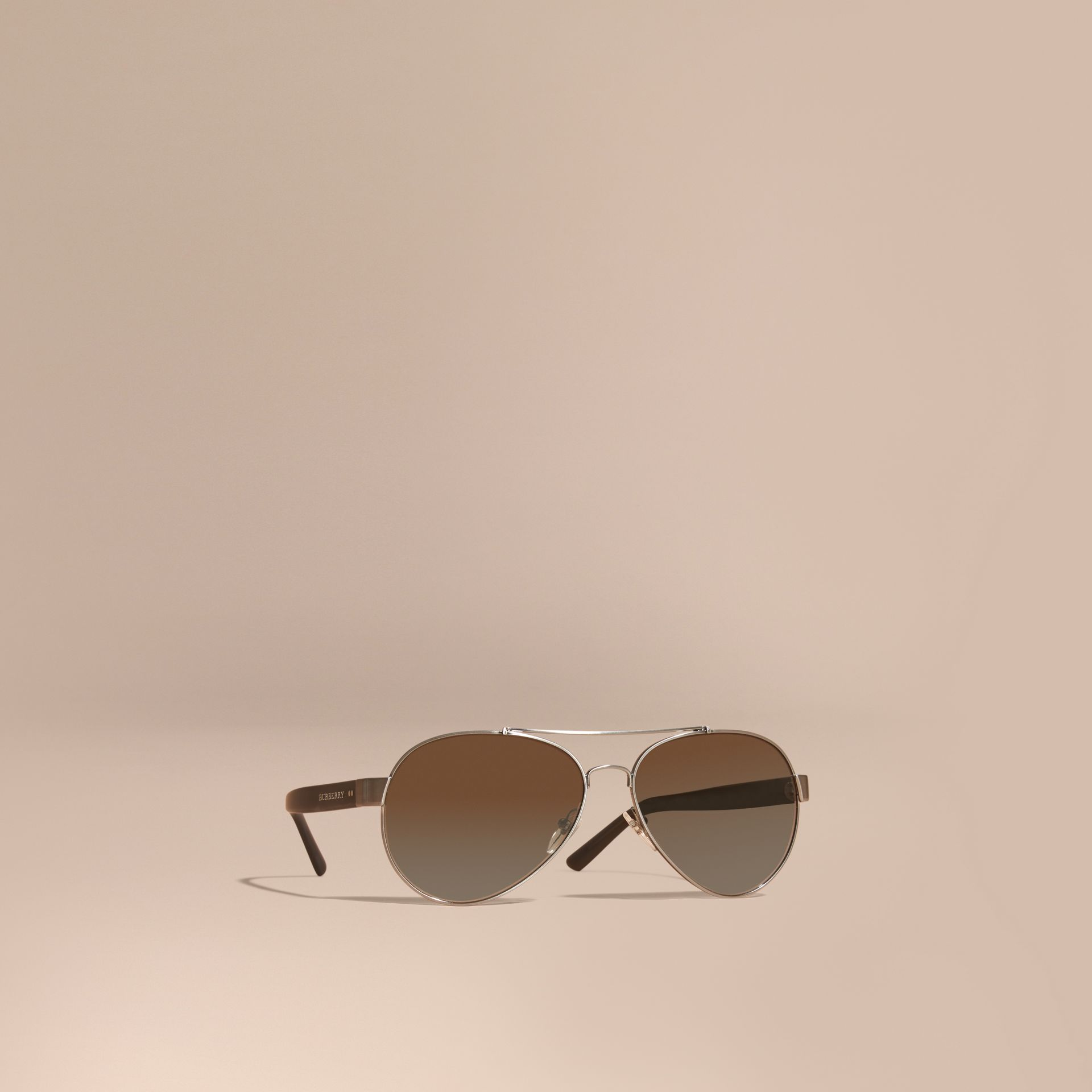 Pilot Sunglasses in Brushed Steel - Men | Burberry - gallery image 1