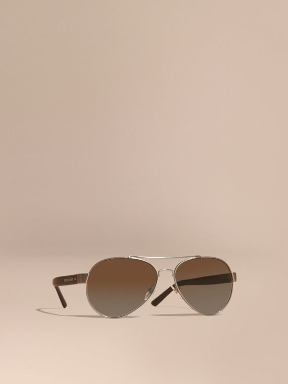 Pilot Sunglasses in Brushed Steel - Men | Burberry