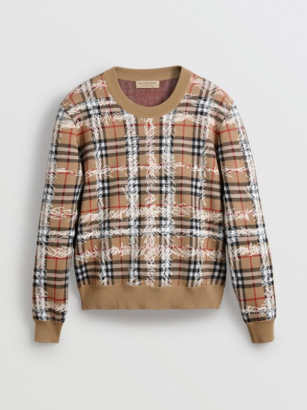 Scribble Check Merino Wool Sweater in Camel/white - Women | Burberry - cell image 3