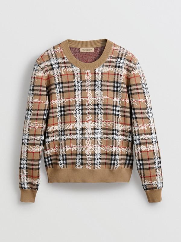 Pull en laine mérinos à motif check griffonné (Camel/blanc) - Femme | Burberry Canada - cell image 3