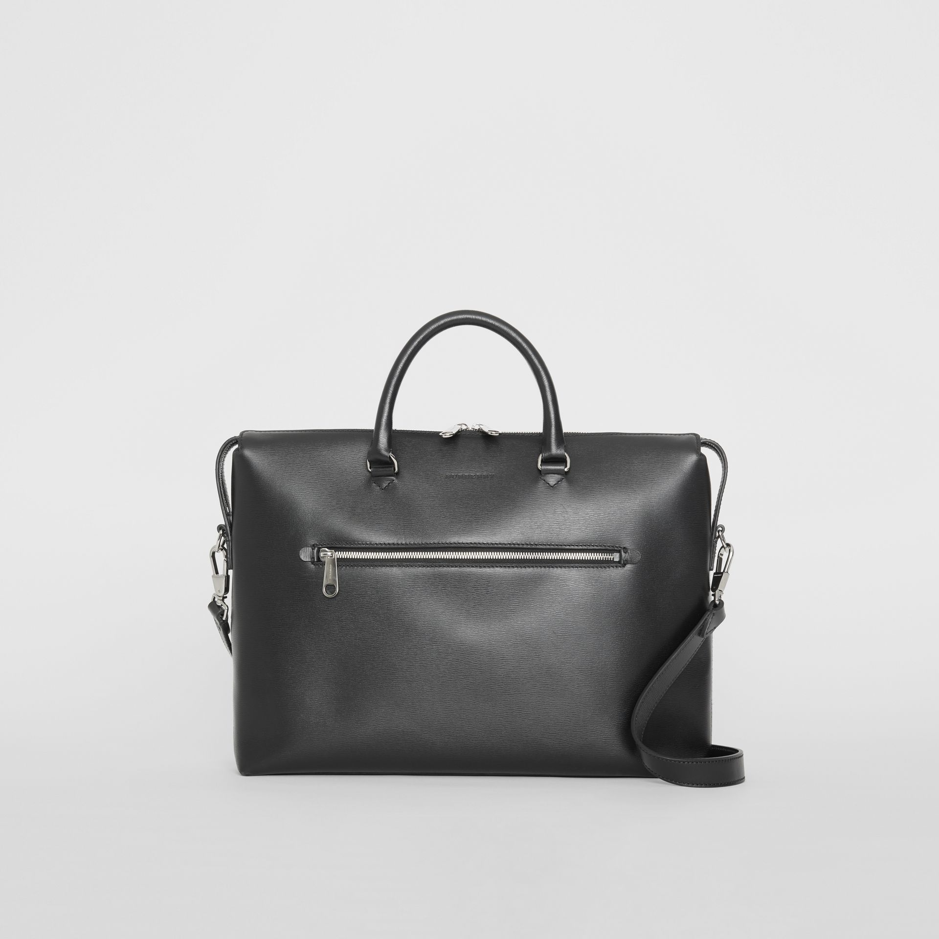 Large Textured Leather Briefcase in Black - Men | Burberry Singapore - gallery image 0