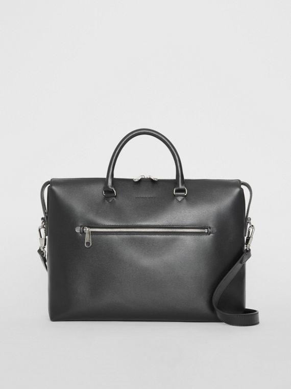 Large Textured Leather Briefcase in Black