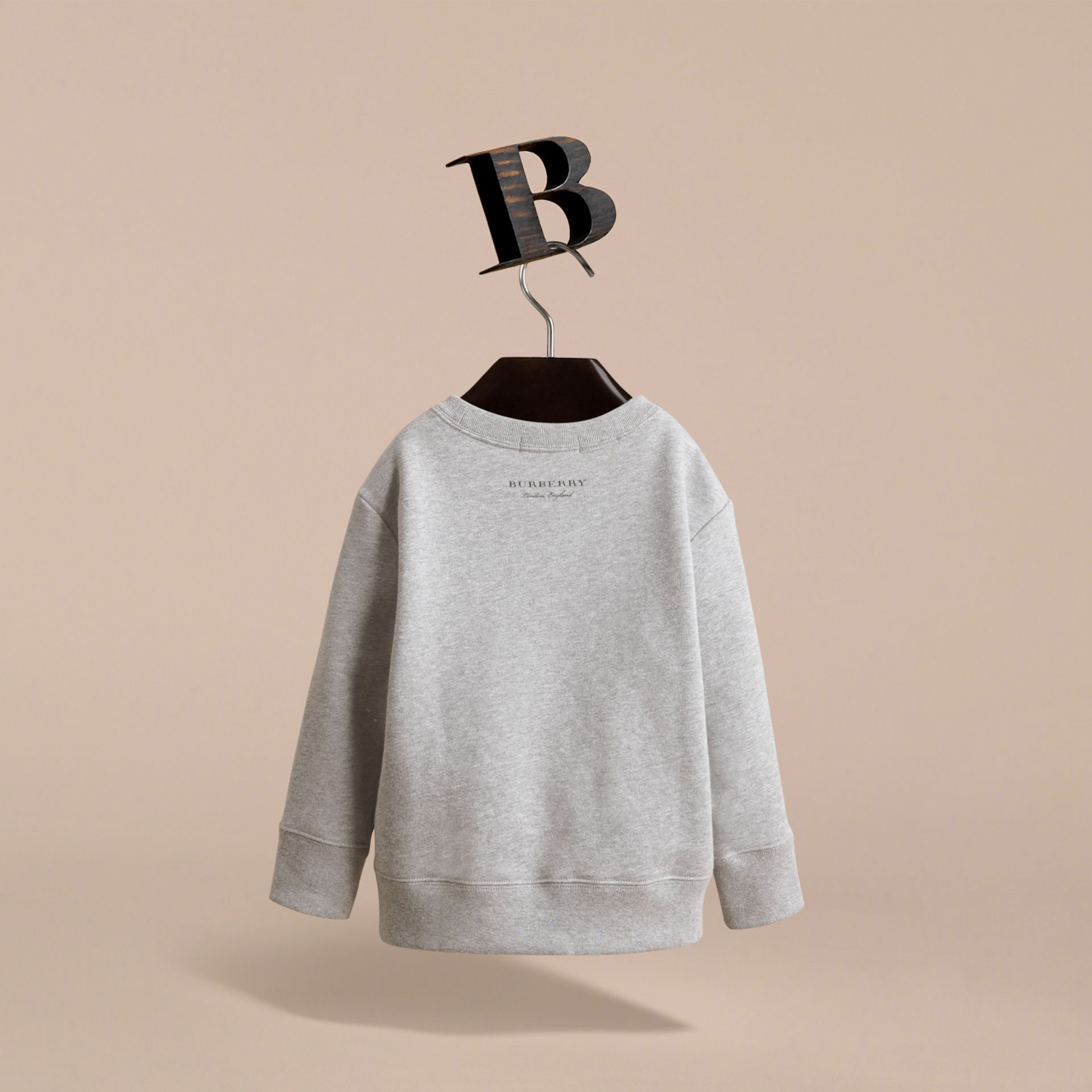 Beasts Motif Cotton Sweatshirt in Grey Melange - Girl | Burberry United Kingdom - gallery image 4