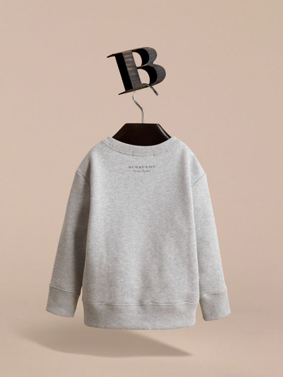 Beasts Motif Cotton Sweatshirt in Grey Melange - Girl | Burberry United Kingdom - cell image 3