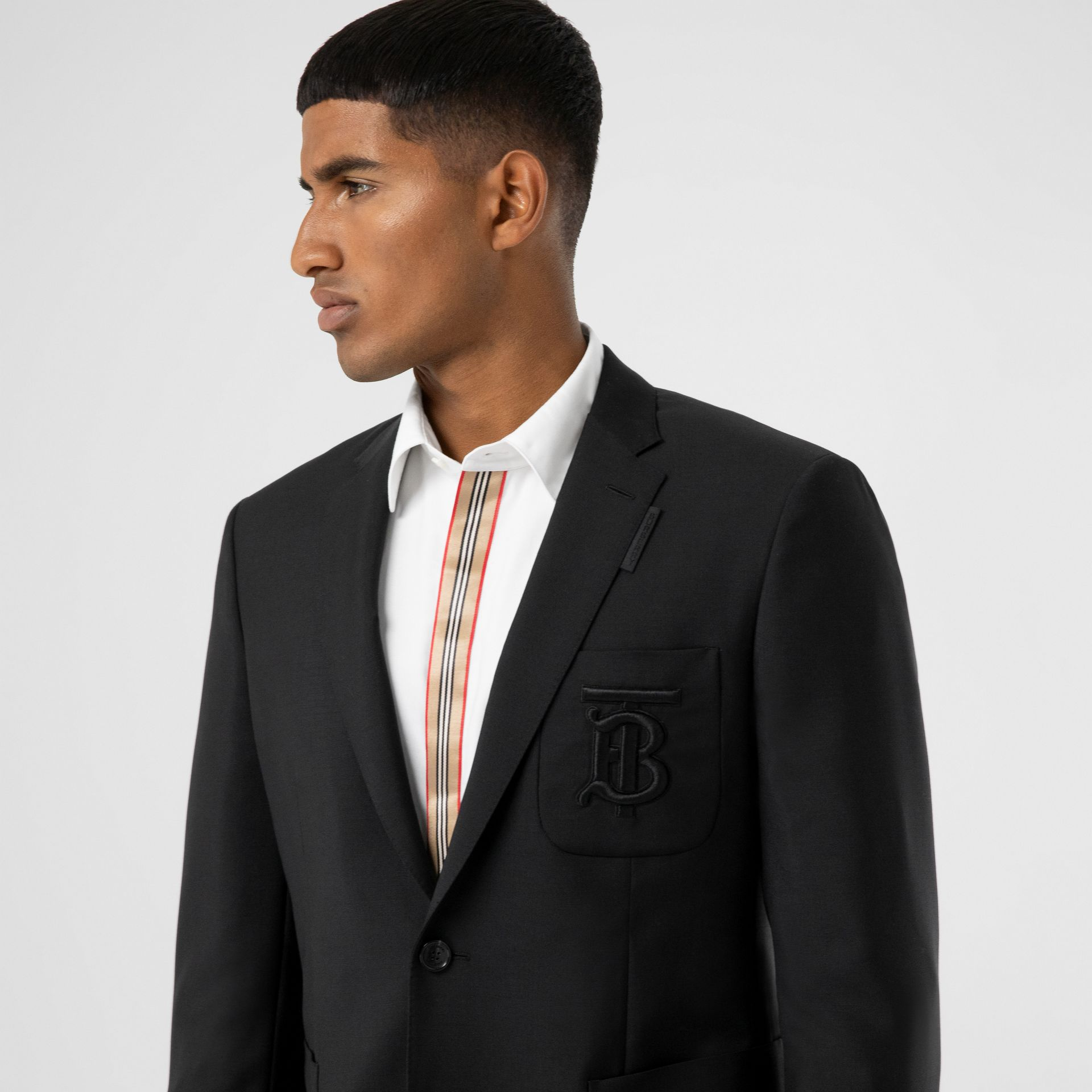 Slim Fit Monogram Motif Wool Mohair Tailored Jacket in Black - Men | Burberry United Kingdom - gallery image 1