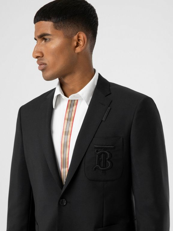 Slim Fit Monogram Motif Wool Mohair Tailored Jacket in Black - Men | Burberry United Kingdom - cell image 1