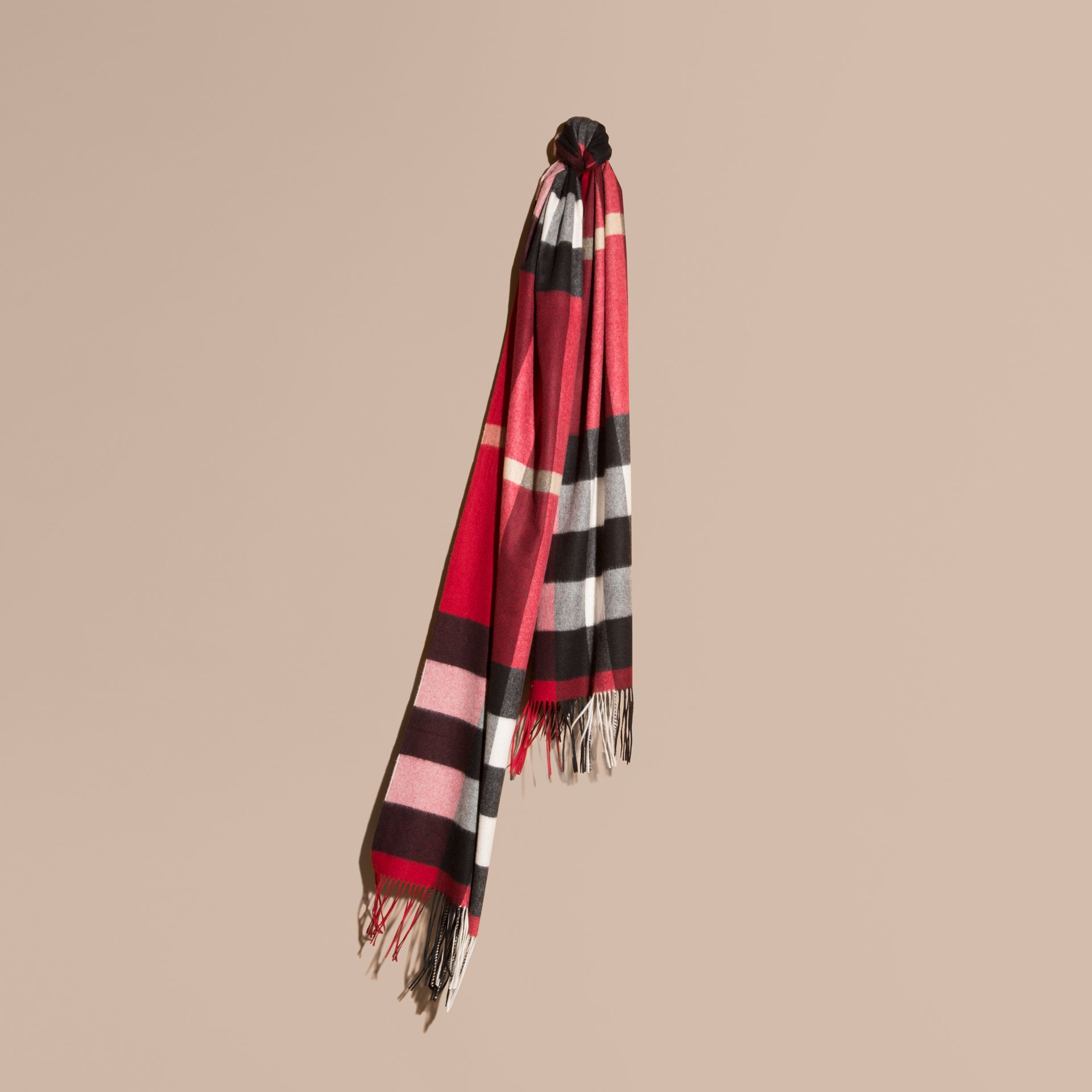 Parade red Oversize Check Cashmere Scarf Parade Red - gallery image 1