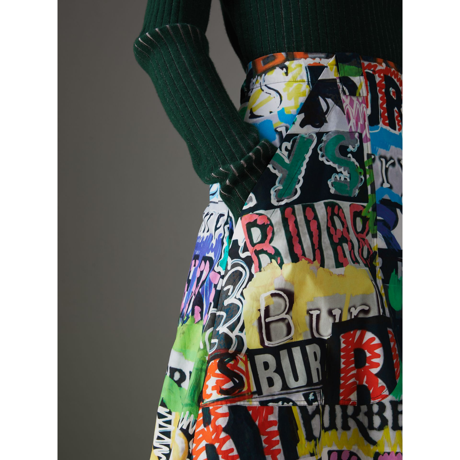 Logo Print Cotton A-line Skirt in Multicolour | Burberry - gallery image 1