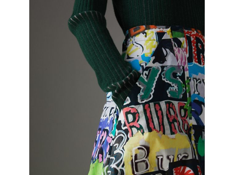 Logo Print Cotton A-line Skirt in Multicolour - Women | Burberry - cell image 1