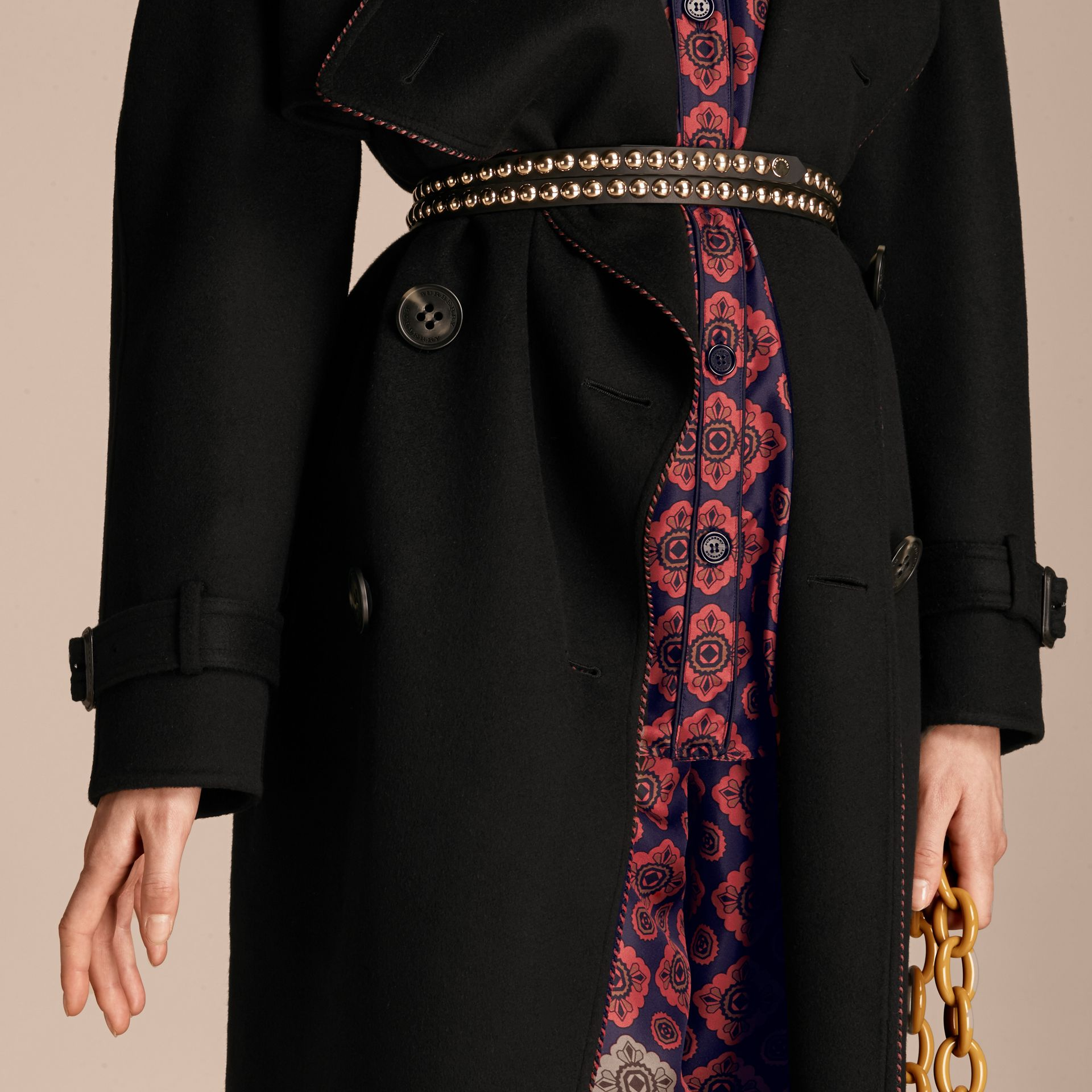 Black Deconstructed Cashmere Wool Trench Coat with Piping - gallery image 5