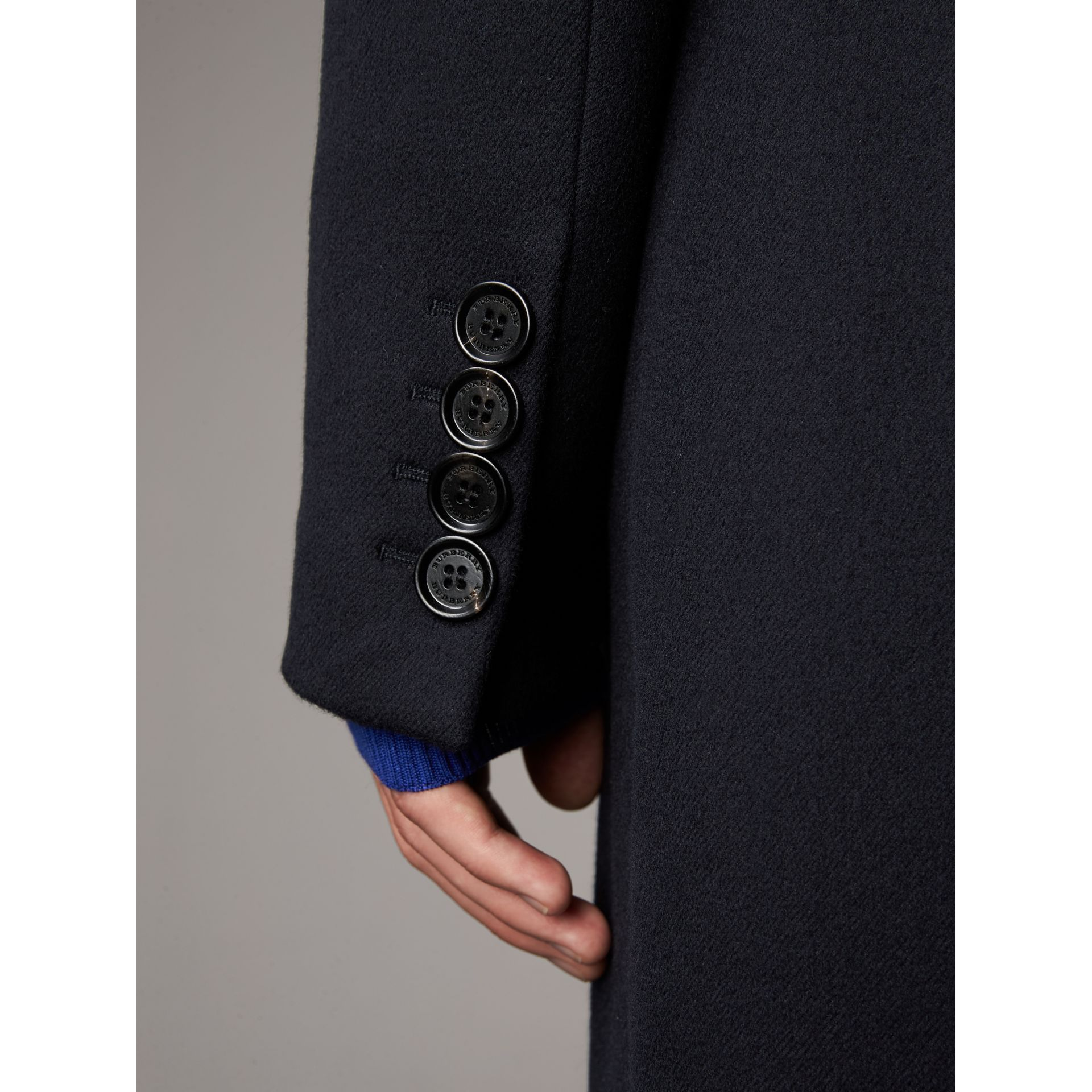 Tartan-lined Cashmere Twill Topcoat in Navy - Men | Burberry - gallery image 5