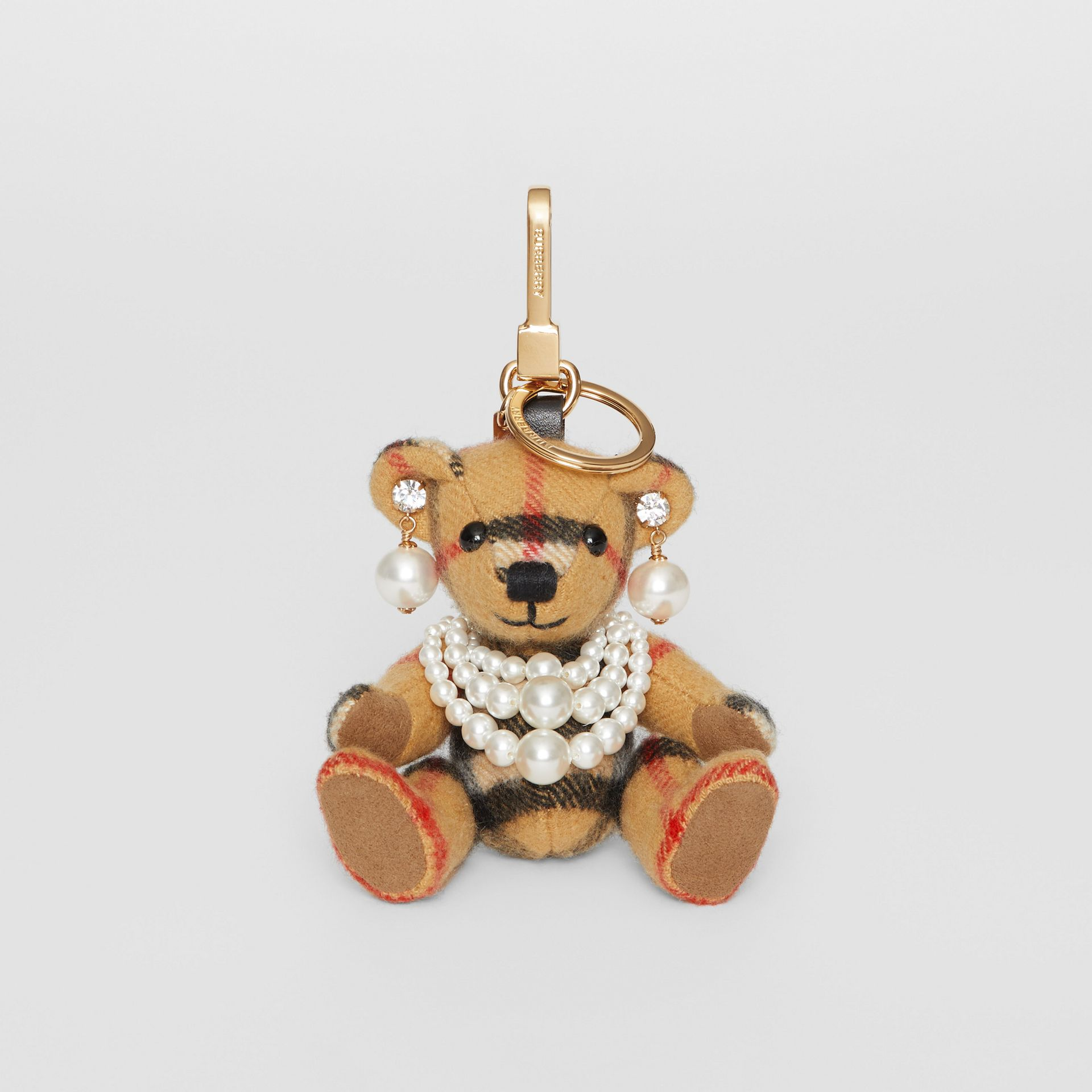 Thomas Bear Charm with Faux Pearls in Antique Yellow - Women | Burberry Australia - gallery image 2