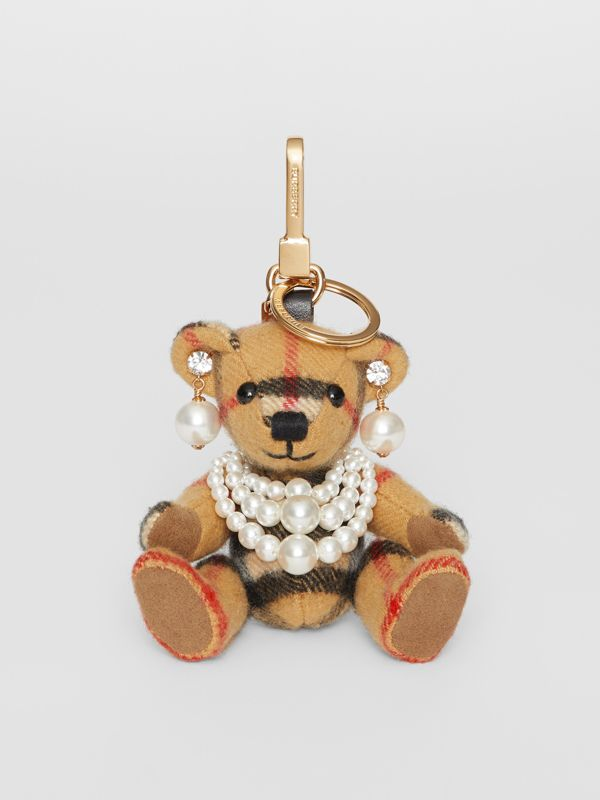 Thomas Bear Charm with Faux Pearls in Antique Yellow - Women | Burberry United Kingdom - cell image 2