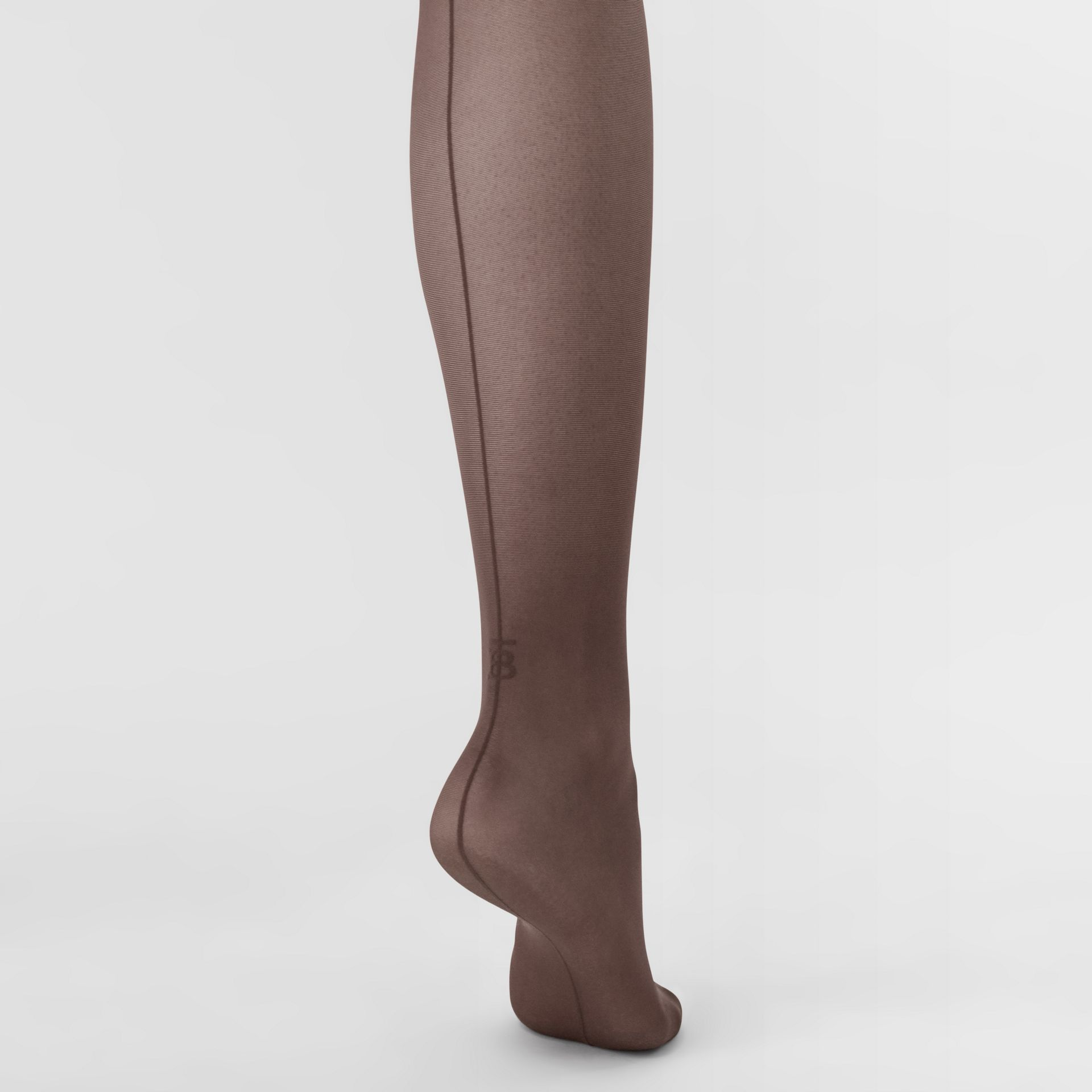 Monogram Motif Seamed Tights in Dark Mocha - Women | Burberry Australia - gallery image 2
