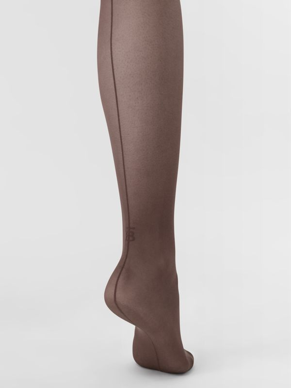 Monogram Motif Seamed Tights in Dark Mocha - Women | Burberry Australia - cell image 2