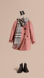 Collarless Wool Cashmere Blend Coat