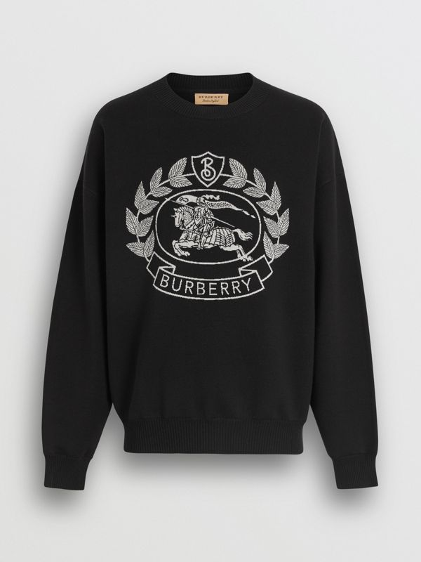Crest Merino Wool Blend Jacquard Sweater in Black - Men | Burberry United Kingdom - cell image 3