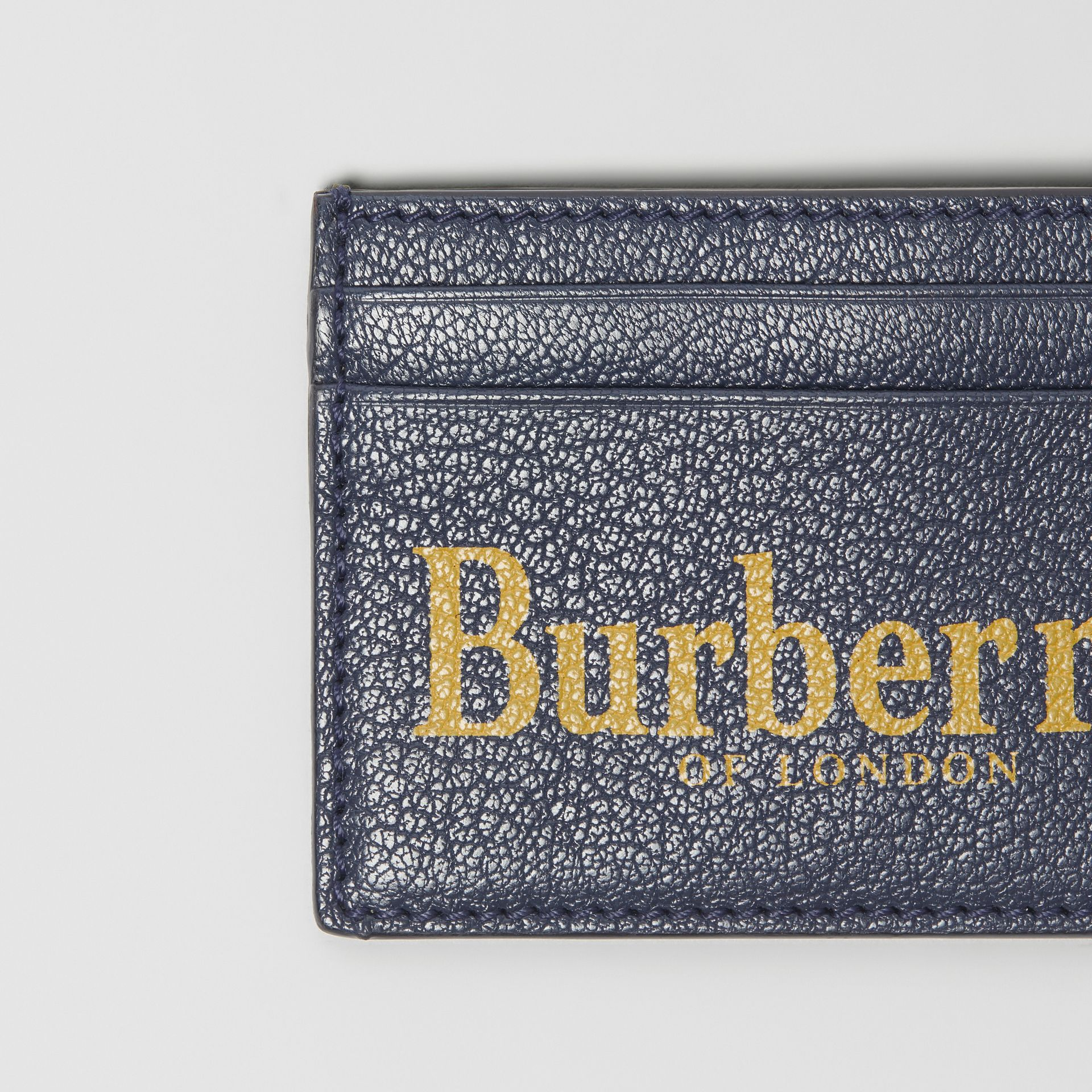 Logo Print Leather Card Case in Storm Blue/antique Green | Burberry - gallery image 1