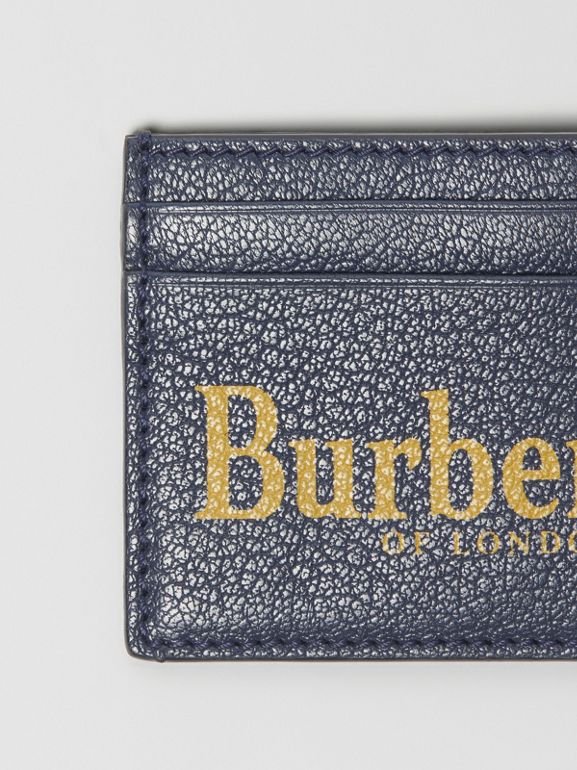Logo Print Leather Card Case in Storm Blue/antique Green | Burberry - cell image 1
