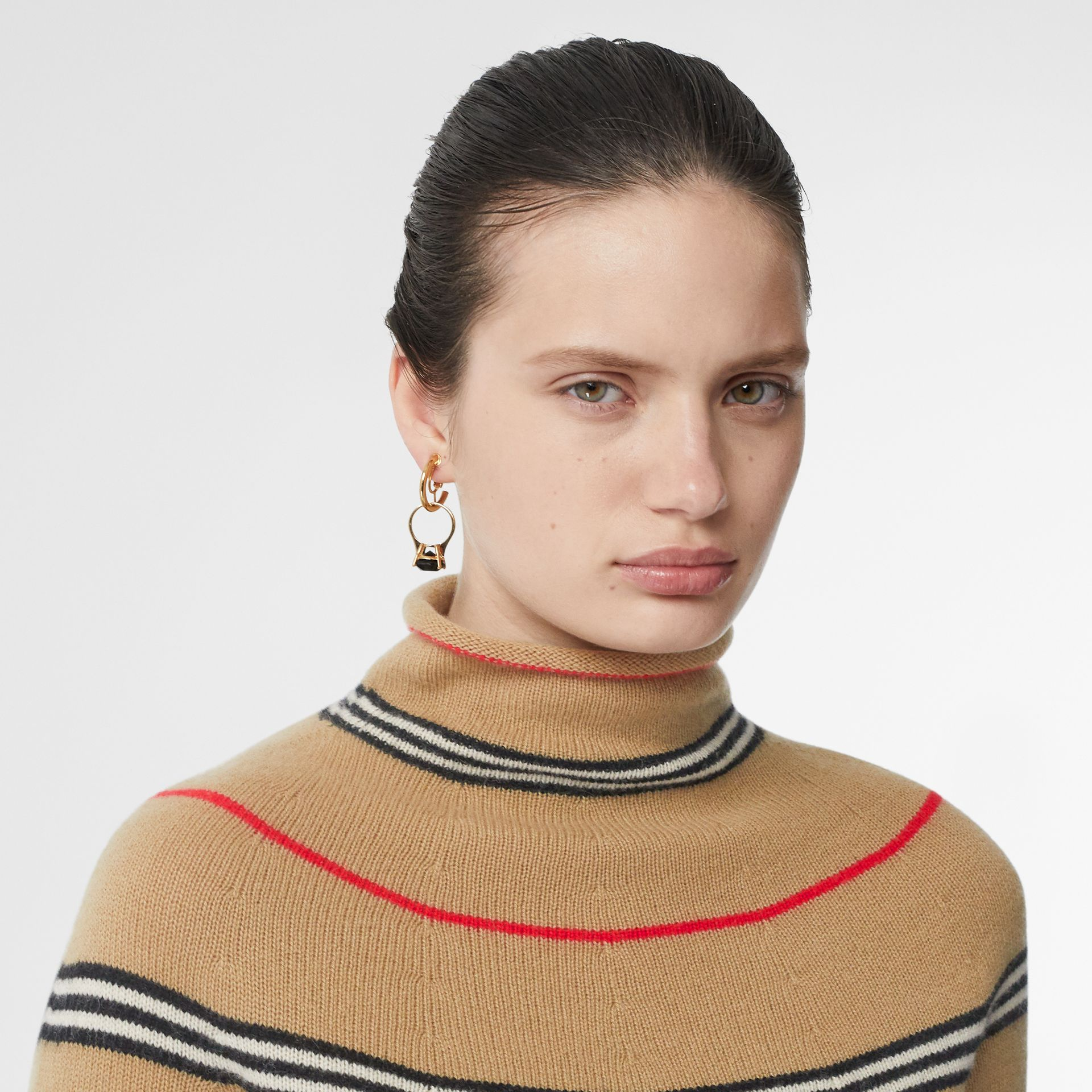Icon Stripe Cashmere Turtleneck Sweater in Archive Beige - Women | Burberry Hong Kong S.A.R - gallery image 1
