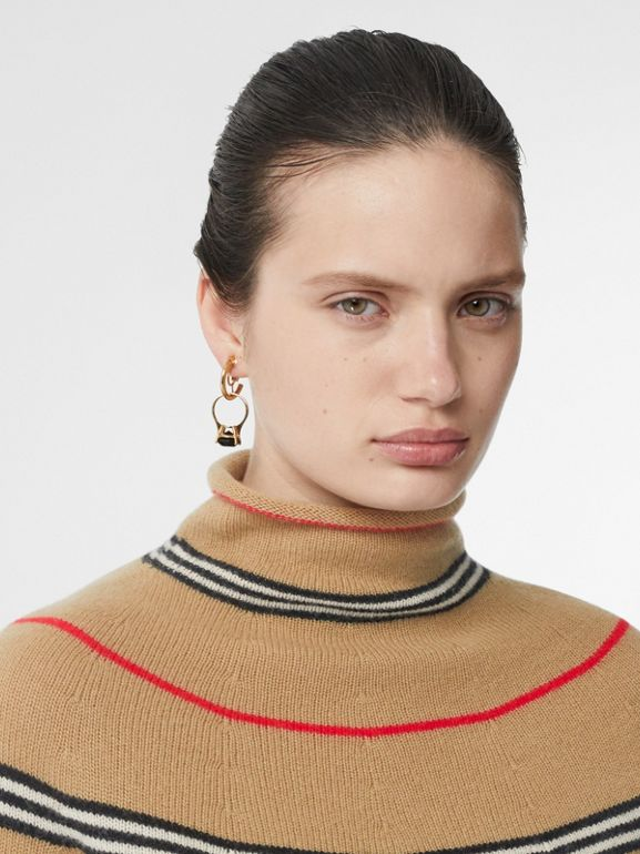 Icon Stripe Cashmere Turtleneck Sweater in Archive Beige - Women | Burberry Hong Kong S.A.R - cell image 1