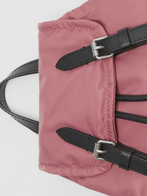 The Small Crossbody Rucksack in Puffer Nylon in Mauve Pink - Women | Burberry - cell image 1