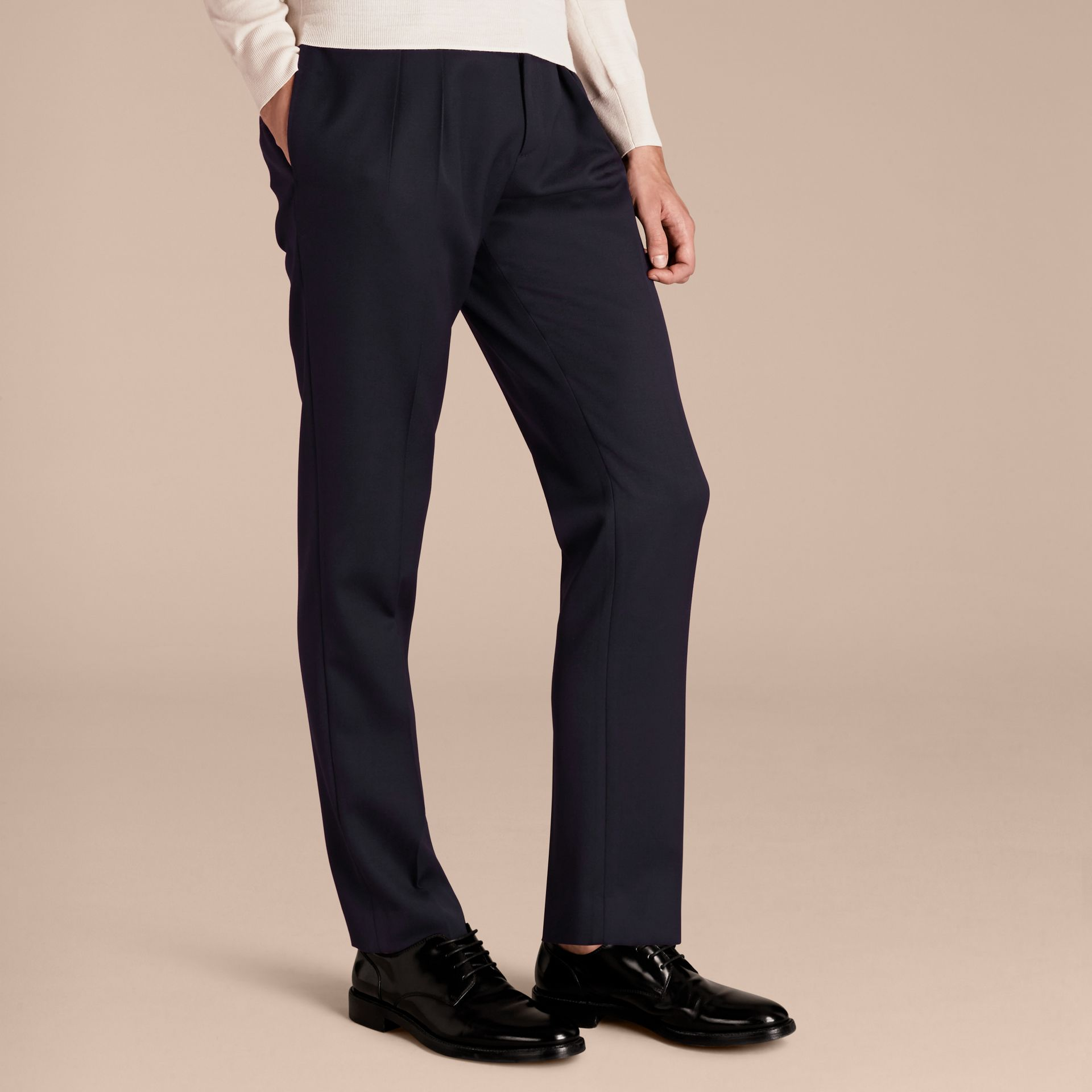 Modern Fit English Wool Tailored Trousers Ink - gallery image 6