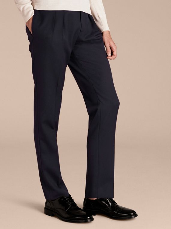 Modern Fit English Wool Tailored Trousers Ink