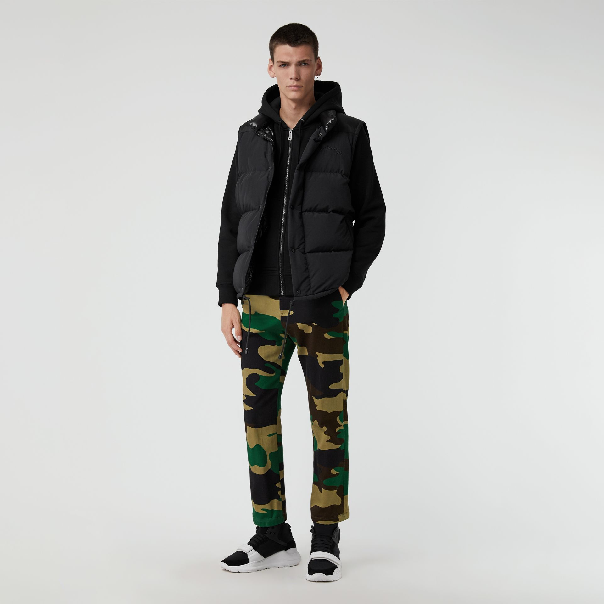 Slim Fit Camouflage Print Cotton Chinos in Forest Green - Men | Burberry Australia - gallery image 0