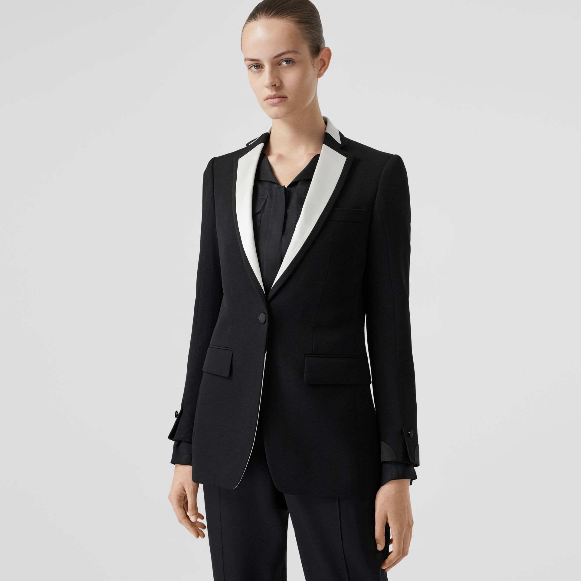 Silk Panel Wool Tailored Jacket in Black - Women | Burberry - gallery image 5